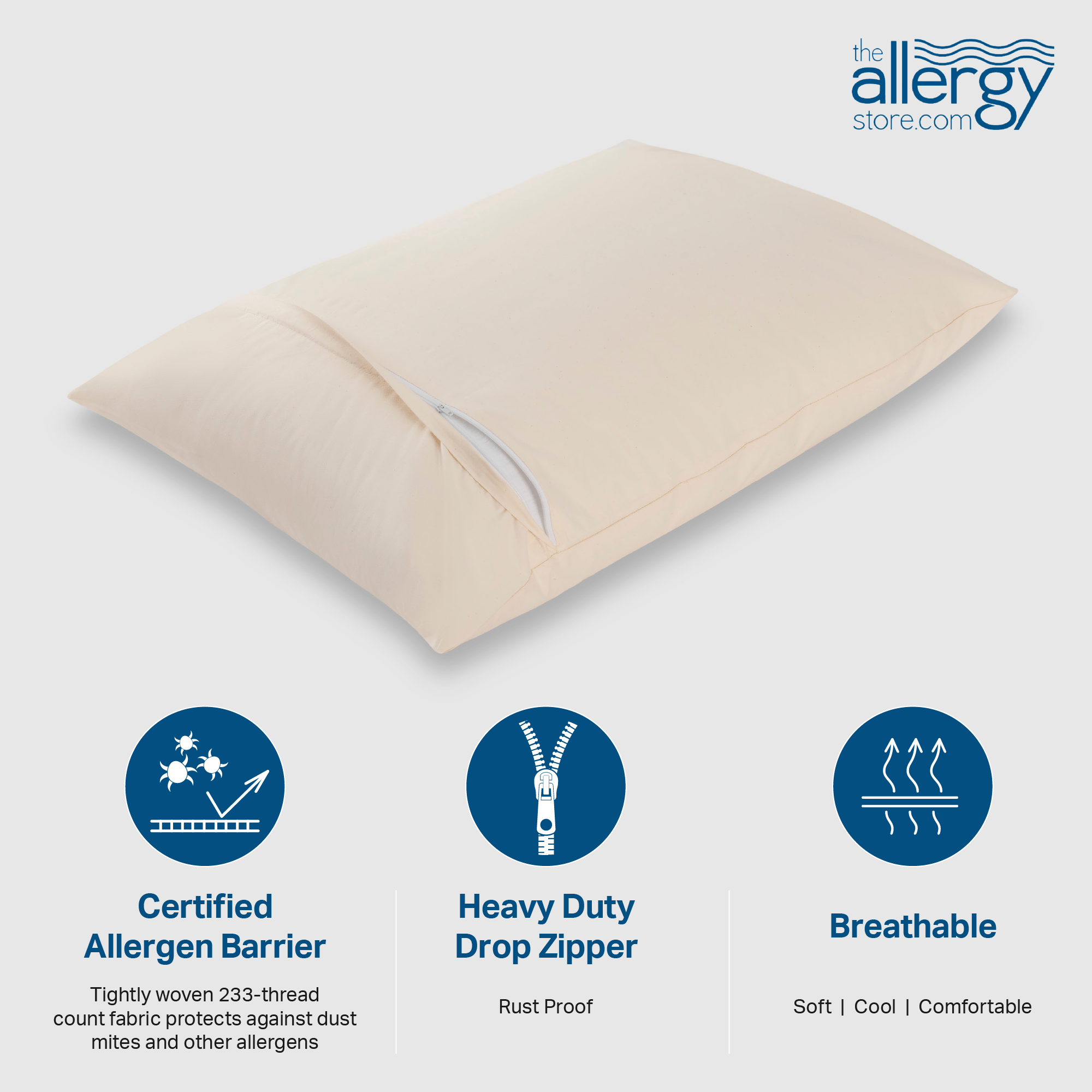AllergyCare Organic Cotton Pillow Encasing - Buy 2 Get 1 Free