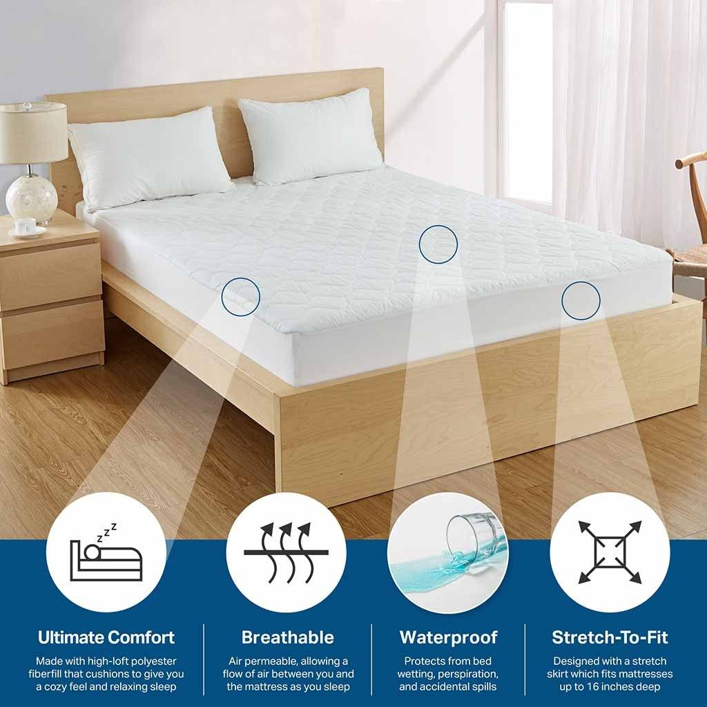 Waterproof Mattress Pad - Our deluxe quilted waterproof mattress pad doesn't crinkle or make noise and adds extra padding to your mattress to make it even more comfortable.