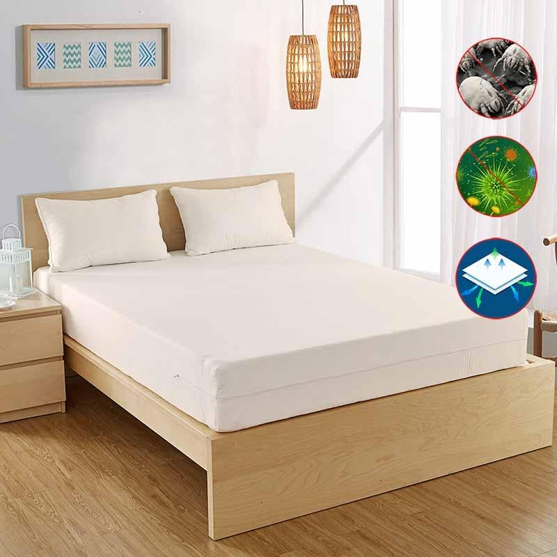 AllergyCare Organic Cotton mattress cover protects your mattress from dust mites and other allergens.