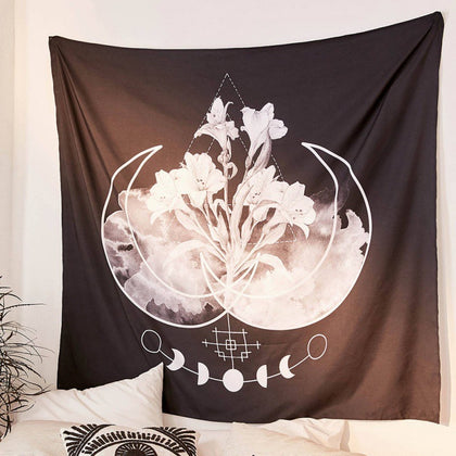 Black & White Flowery Moon Phase Tapestry