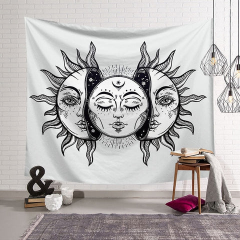 Black & White Moon Split Tapestry