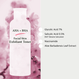 AHA/BHA Clarifying Toner 200ml, Glycolic Acid 7% + Salicylic Acid 0.5% - Acne Face Wash + Removing Dead Skin Cells, 200ml