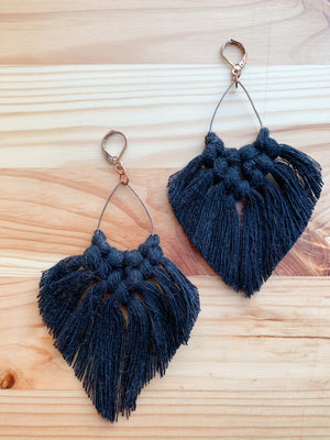 FERN | Boho Fringe Macramé Earrings, Teardrops