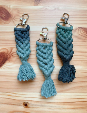 Macramé Mermaid Keychain