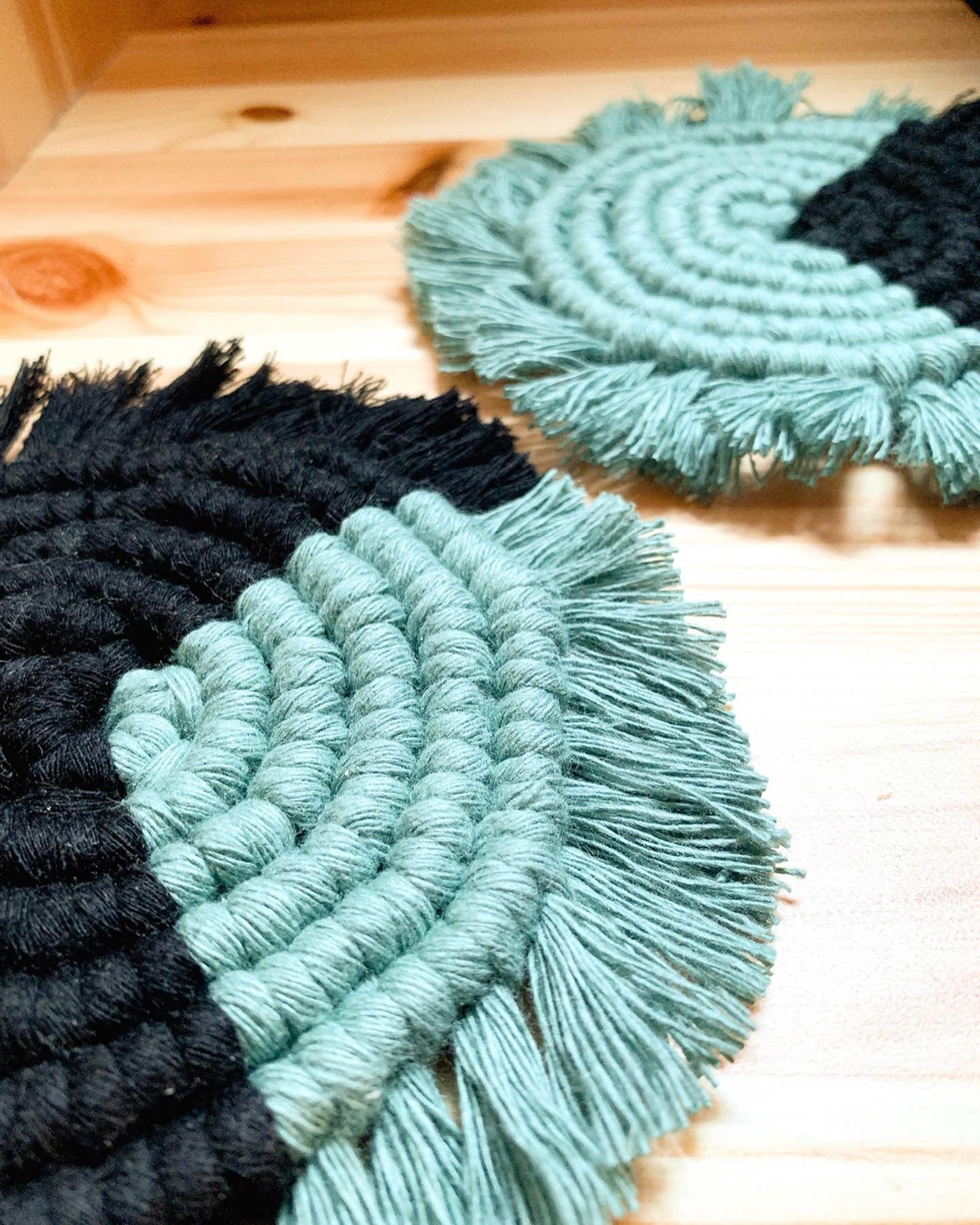 HARMONY | Two-toned Spiral Macramé Coasters, Set of 2