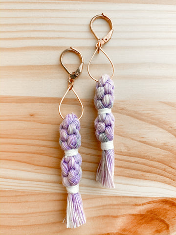 Double Crown Tassel Macramé Earrings