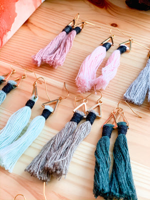 BLAIRE | Triangle Tassel Macramé Earrings
