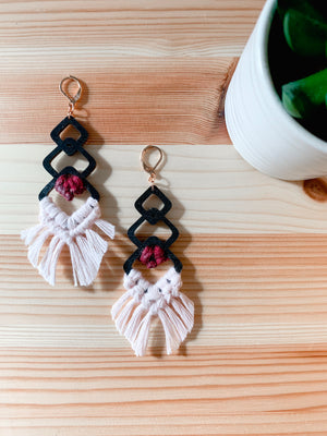 TRINITY | Macramé Wood & Cotton Earrings