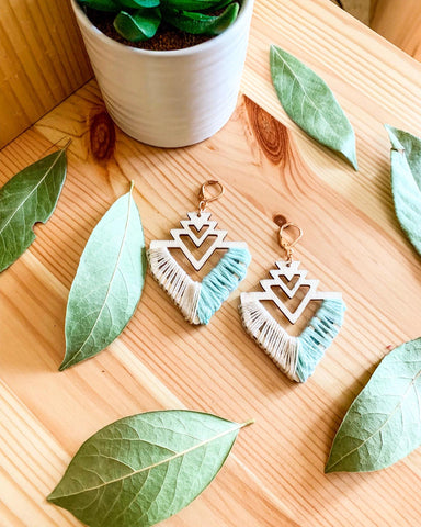 ARCHER | Macramé Wood & Cotton Earrings