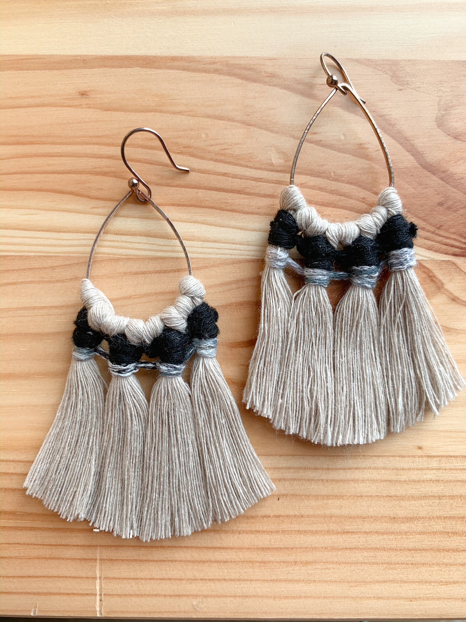 DAKOTA | Macramé Fringe Earrings, Teardrops