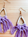 EVA | Wood+Cotton Macramé Earrings