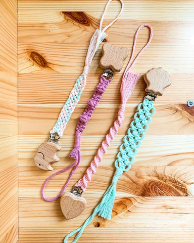 Natural Wood & Cotton Pacifier Clip