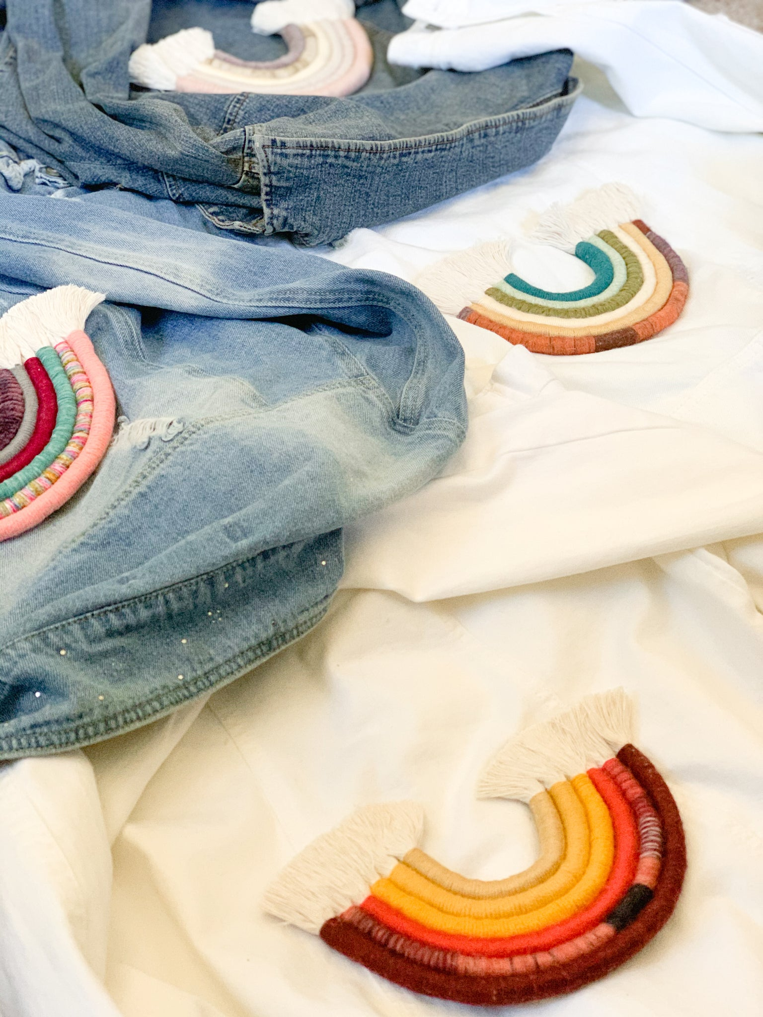 ASHA | Macramé Rainbow Denim Jacket