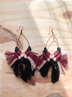 SEDONA II | Macramé Fringe Earrings, Teardrops
