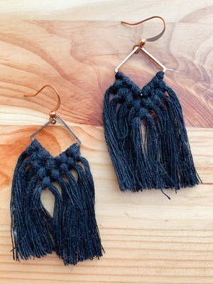 THEA | Boho Fringe Macramé Earrings, Diamonds