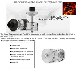 Steam Crave Aromamizer Plus 30mm RDTA RDA Rebuildable Dripper Tank