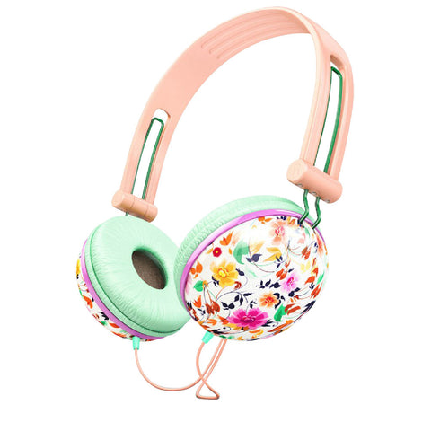 Pastel Peach Floral Noise Isolating Headphones