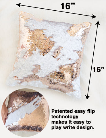 Gold White Elephant Mermaid Sequin Pillow