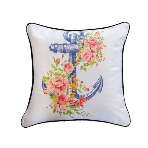 Floral Anchor Throw Pillow