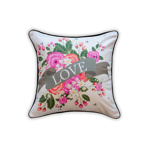 Love Floral Throw Pillow