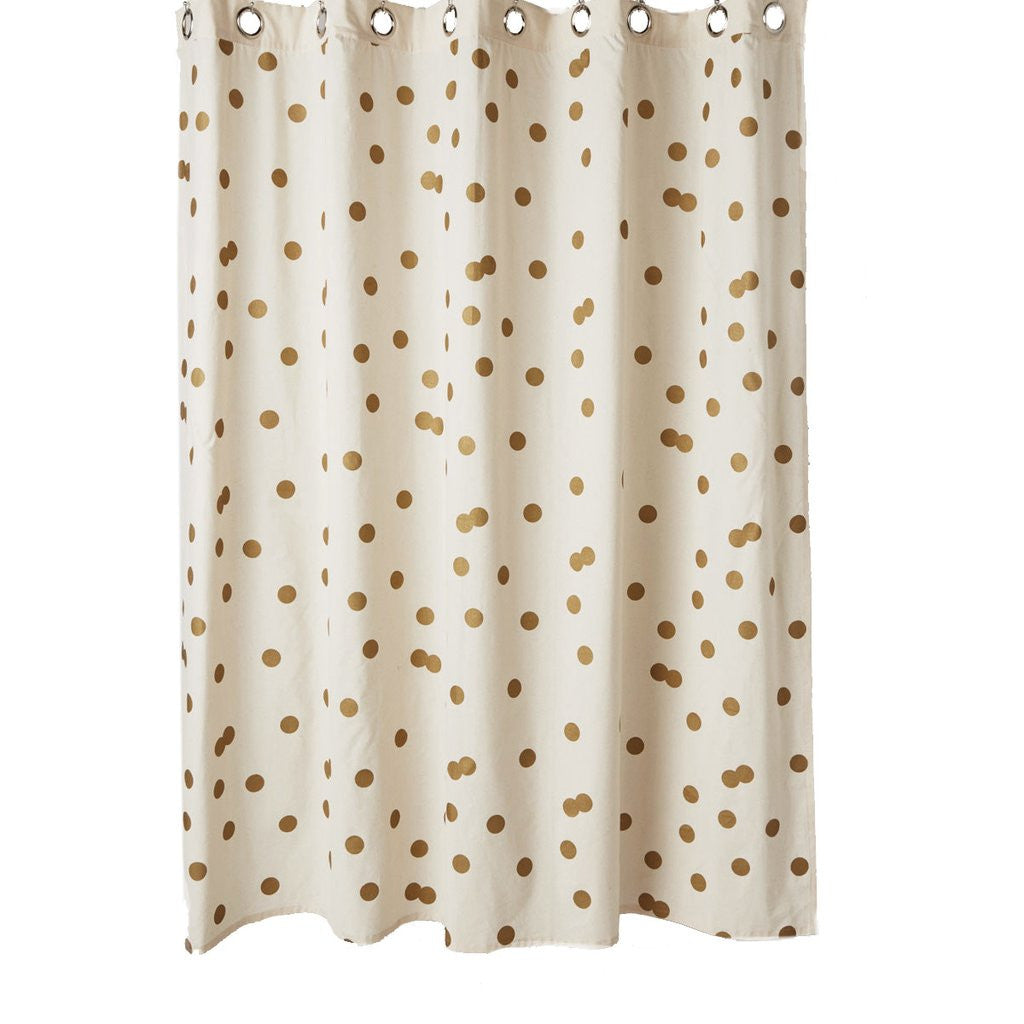 Lush Decor Lillian Shower Curtain Gold Polka Dot Pillowcase
