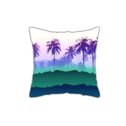 Palm Green & Blue Throw Pillow