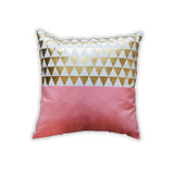 Decorative Home Decor Peach Gold Triangles Pillow at Ankit