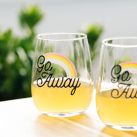 Go Away Rainbow Wine Glasses