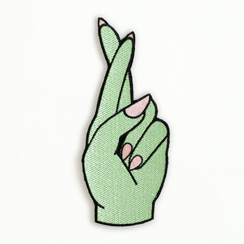 Ankit Green DIY Fingers Crossed Hand Patch
