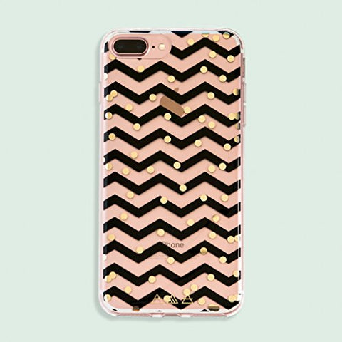 Clear Black Chevron Gold Dot iPhone 6 / 7 / 8 Plus Case