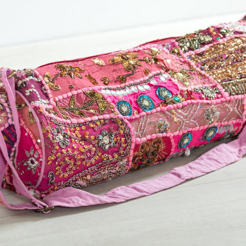Handmade beaded patchwork Pink Yoga Bag