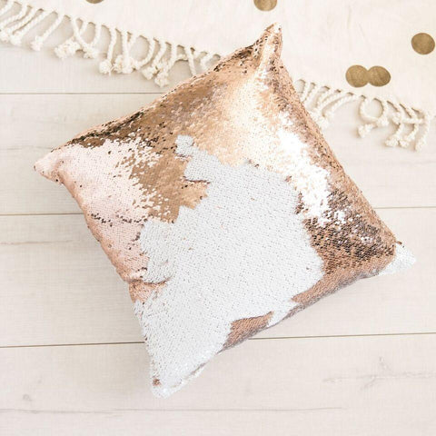 Mermaid Pillow Reversible Sequin Pillow That Changes Color - Champagne Gold Flip Sequin Pillow