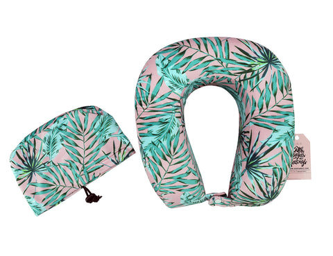 Pink Palm Leaf Ergonomic Travel Pillow