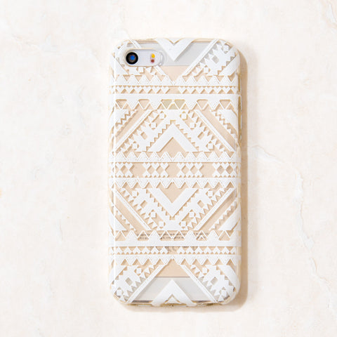 Clear White Tribal Tribal Boho Bohemian iPhone 5C/S/5 case