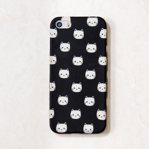 Black Cat Kitty Meow iPhone 5C/S/5 case