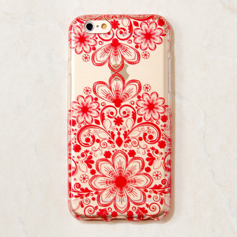 Clear Red Mandala Filigree Boho Indian iPhone 6S/ 6 case