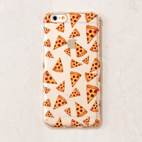 Clear Multicolor Pizza junk food iPhone 6S/ 6 case