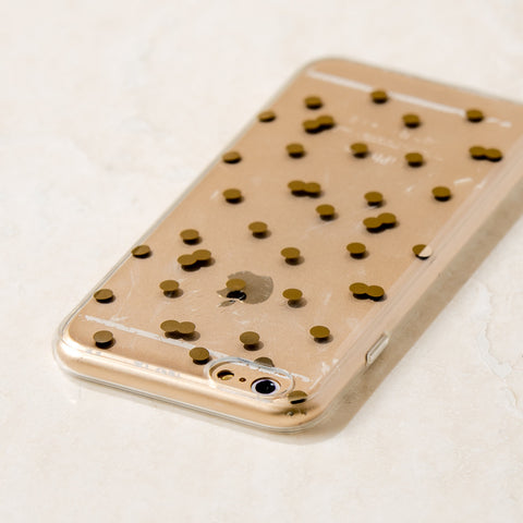 Clear Gold Polka Dot Pattern iPhone 6S/ 6 case