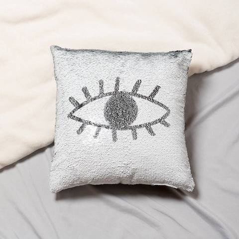 Black White Eye Mermaid Sequin Pillow