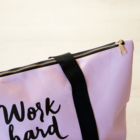 Work Hard Pink Gym Bag