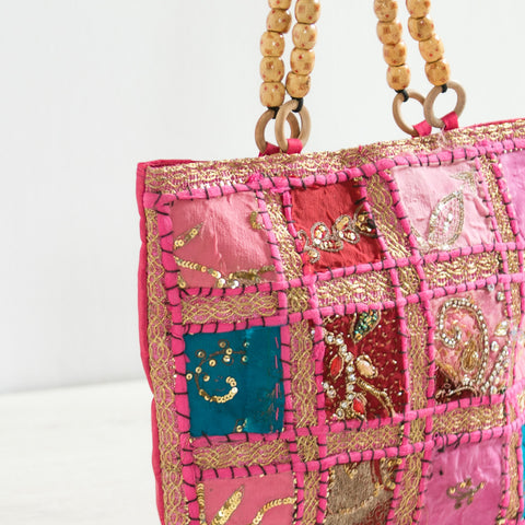Pink Beaded Handle Tote Bag