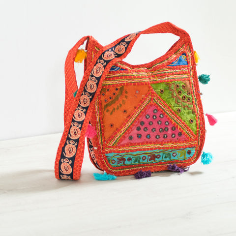 Beaded Handle Pink Tote Bag