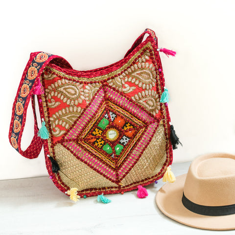 Zari Patchwork Red Crossbody Bag