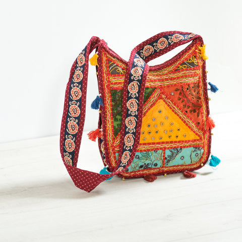 Patchwork Red Crossbody Bag
