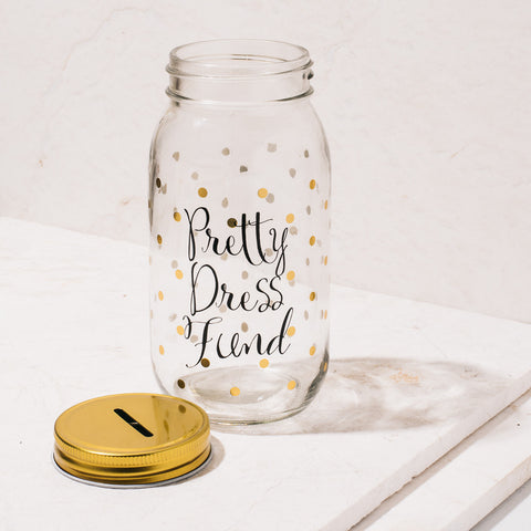Pretty Dress Fund Clear Mason Jar Coin Bank