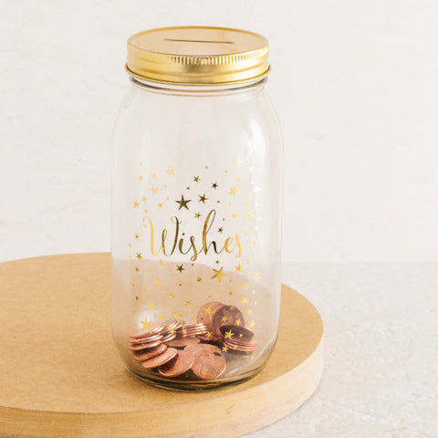 Wishes Mason Jar Coin Bank