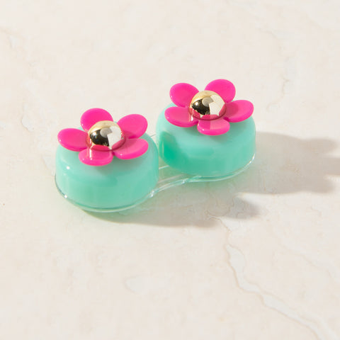 Blue Pink Daisy Contact Lens Case