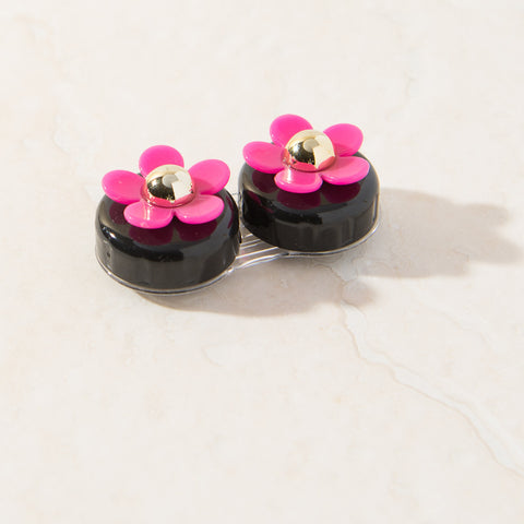 Black Pink Daisy Contact Lens Case