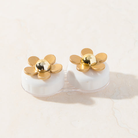 White Gold Daisy Contact Lens Case