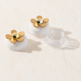 Daisy White & Gold Contact Lens Case